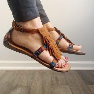 Minnetonka fringe serape sandals